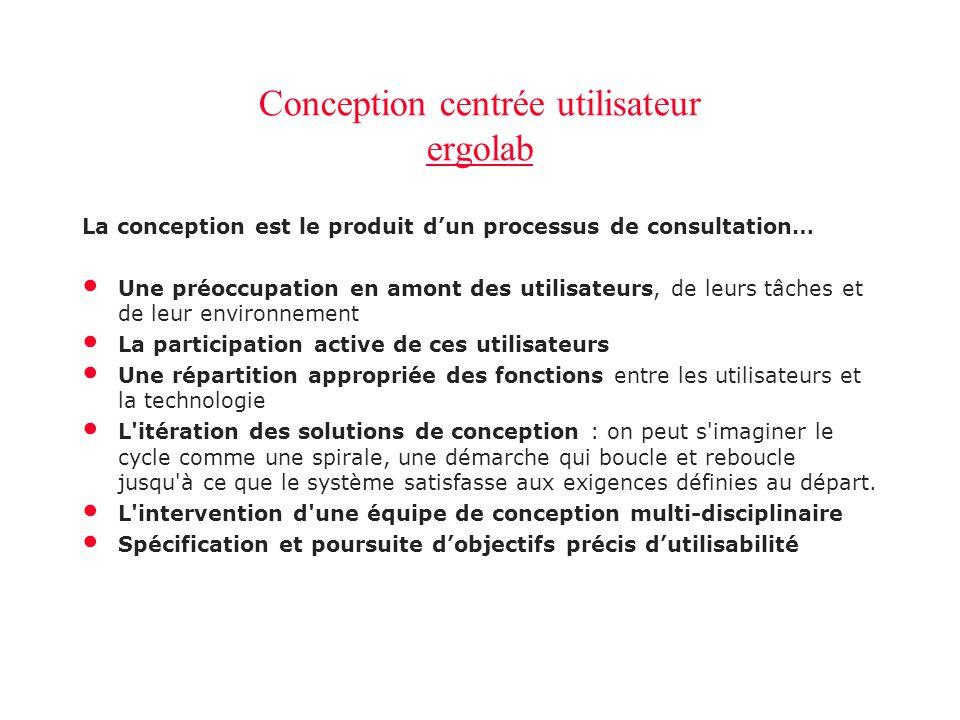 Conception centrée utilisateur ergolab ergolab Conception centrée utilisateur ergolab ergolab La conception est le produit d'un processus de consultat
