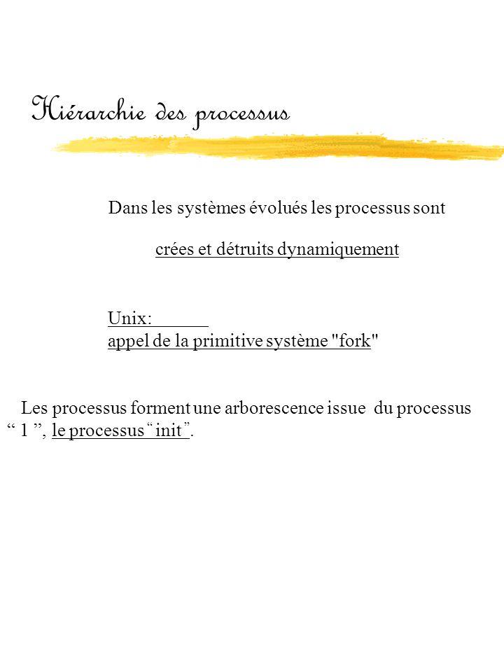 Hiérarchie des processus Dans les systèmes évolués les processus sont crées et détruits dynamiquement Unix: appel de la primitive système