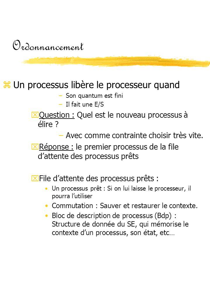Ordonnancement zUn processus libère le processeur quand –Son quantum est fini –Il fait une E/S xQuestion : Quel est le nouveau processus à élire ? –Av