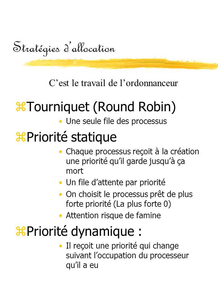 Stratégies d'allocation zTourniquet (Round Robin) •Une seule file des processus zPriorité statique •Chaque processus reçoit à la création une priorité