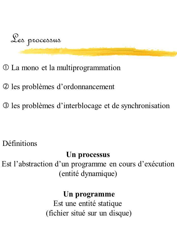 Les processus  La mono et la multiprogrammation  les problèmes d'ordonnancement  les problèmes d'interblocage et de synchronisation Définitions Un