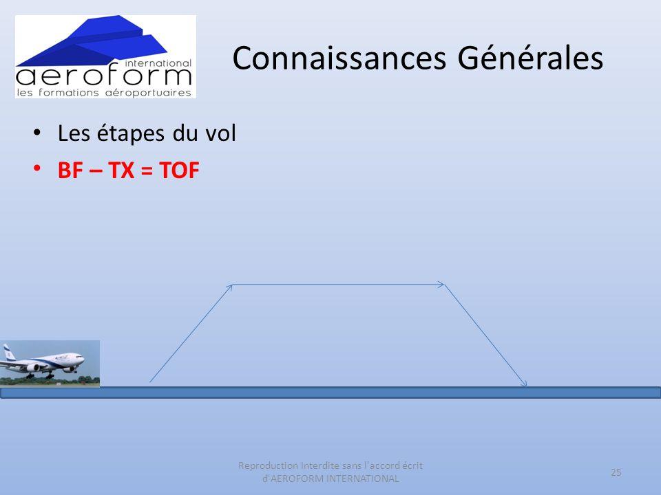 Connaissances Générales • Les étapes du vol • BF – TX = TOF 25 Reproduction Interdite sans l'accord écrit d'AEROFORM INTERNATIONAL