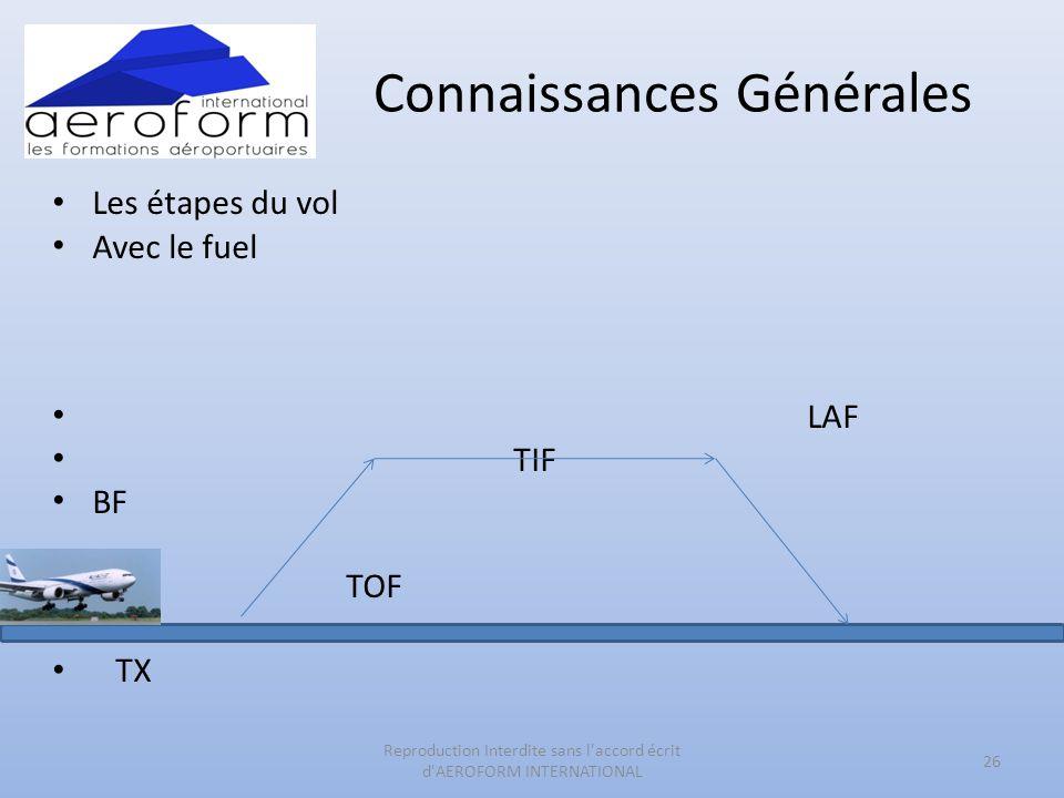 Connaissances Générales • Les étapes du vol • Avec le fuel • LAF • TIF • BF • TOF • TX 26 Reproduction Interdite sans l'accord écrit d'AEROFORM INTERN