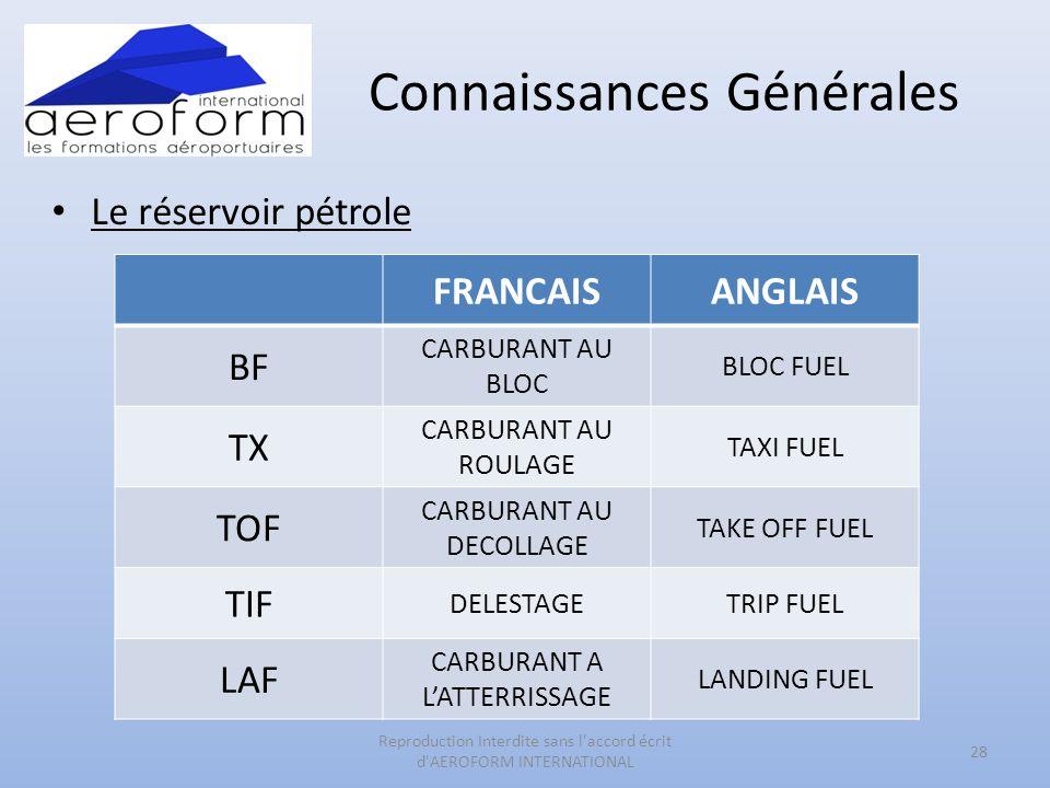 Connaissances Générales • Le réservoir pétrole 28 Reproduction Interdite sans l'accord écrit d'AEROFORM INTERNATIONAL FRANCAISANGLAIS BF CARBURANT AU