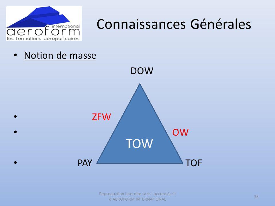 Connaissances Générales • Notion de masse DOW • ZFW • OW • PAY TOF 35 Reproduction Interdite sans l'accord écrit d'AEROFORM INTERNATIONAL TOW