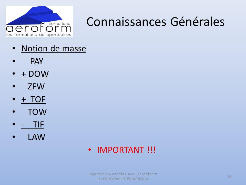 Connaissances Générales • Notion de masse • PAY • + DOW • ZFW • + TOF • TOW • - TIF • LAW • IMPORTANT !!! 36 Reproduction Interdite sans l'accord écri