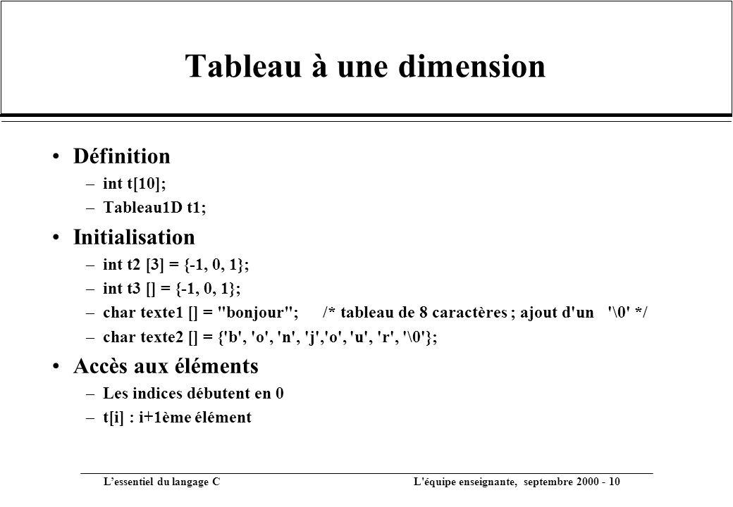 L'essentiel du langage C L équipe enseignante, septembre 2000 - 10 Tableau à une dimension •Définition –int t[10]; –Tableau1D t1; •Initialisation –int t2 [3] = {-1, 0, 1}; –int t3 [] = {-1, 0, 1}; –char texte1 [] = bonjour ;/* tableau de 8 caractères ; ajout d un \0 */ –char texte2 [] = { b , o , n , j , o , u , r , \0 }; •Accès aux éléments –Les indices débutent en 0 –t[i] : i+1ème élément