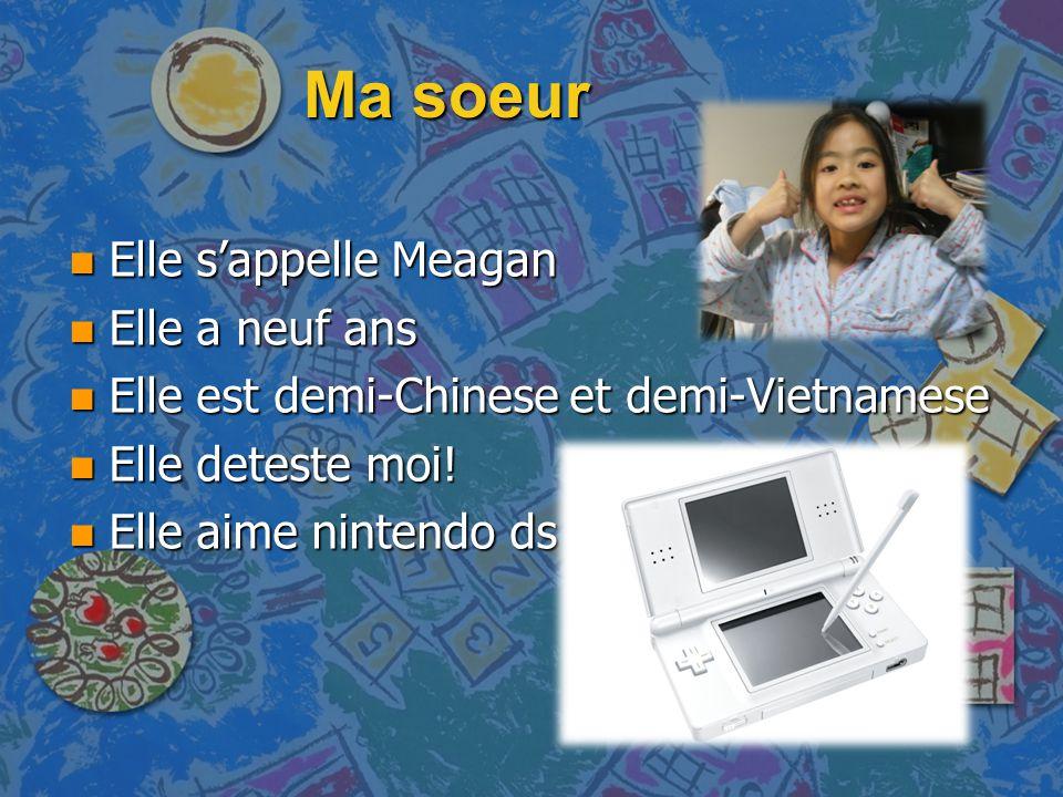 Ma soeur n Elle s'appelle Meagan n Elle a neuf ans n Elle est demi-Chinese et demi-Vietnamese n Elle deteste moi! n Elle aime nintendo ds