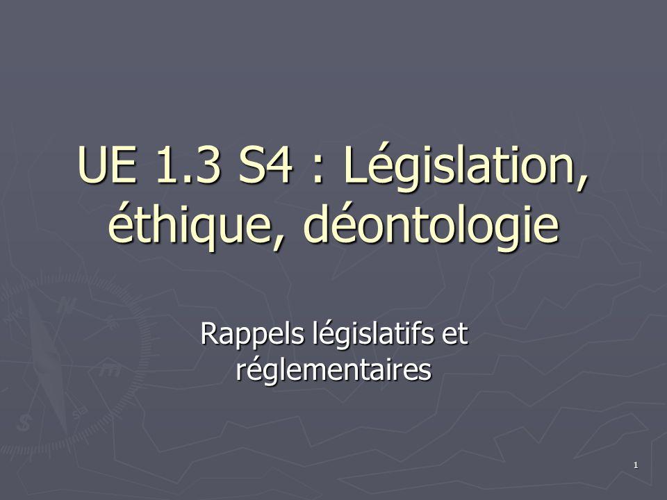 1 UE 1.3 S4 : Législation, éthique, déontologie Rappels législatifs et réglementaires