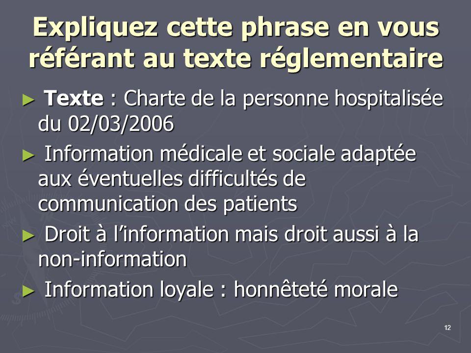 12 Expliquez cette phrase en vous référant au texte réglementaire ► Texte : Charte de la personne hospitalisée du 02/03/2006 ► Information médicale et