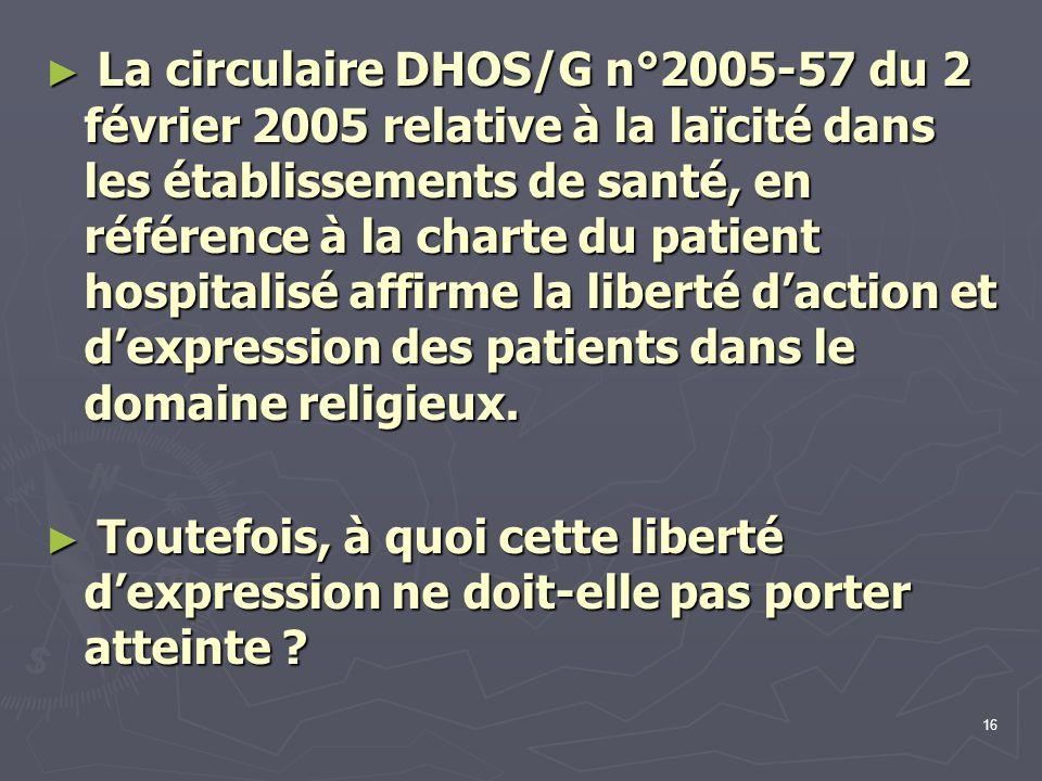 16 ► La circulaire DHOS/G n°2005-57 du 2 février 2005 relative à la laïcité dans les établissements de santé, en référence à la charte du patient hosp