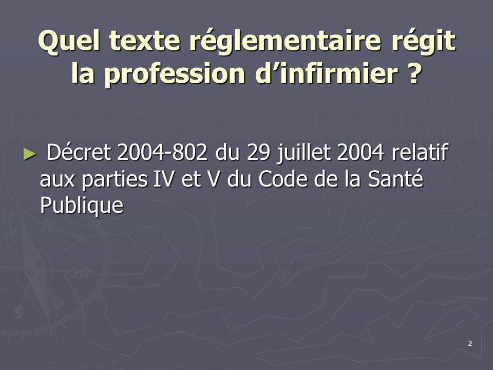 2 Quel texte réglementaire régit la profession d'infirmier ? ► Décret 2004-802 du 29 juillet 2004 relatif aux parties IV et V du Code de la Santé Publ