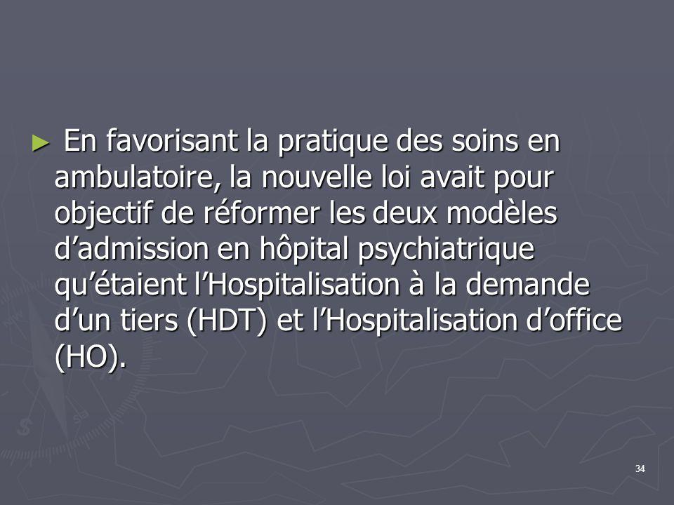 34 ► En favorisant la pratique des soins en ambulatoire, la nouvelle loi avait pour objectif de réformer les deux modèles d'admission en hôpital psych