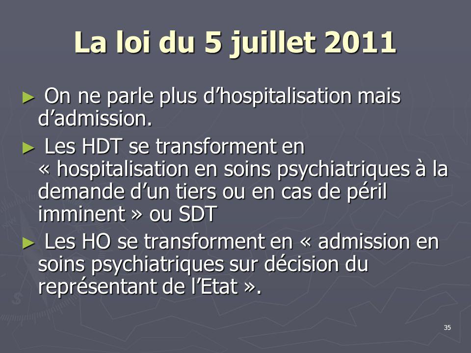 35 La loi du 5 juillet 2011 ► On ne parle plus d'hospitalisation mais d'admission. ► Les HDT se transforment en « hospitalisation en soins psychiatriq