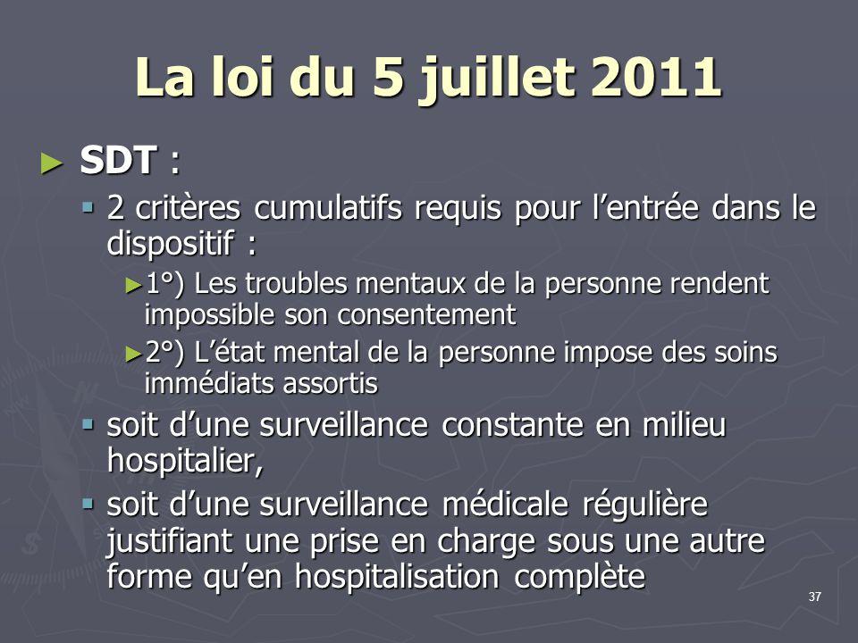 37 La loi du 5 juillet 2011 ► SDT :  2 critères cumulatifs requis pour l'entrée dans le dispositif : ► 1°) Les troubles mentaux de la personne renden