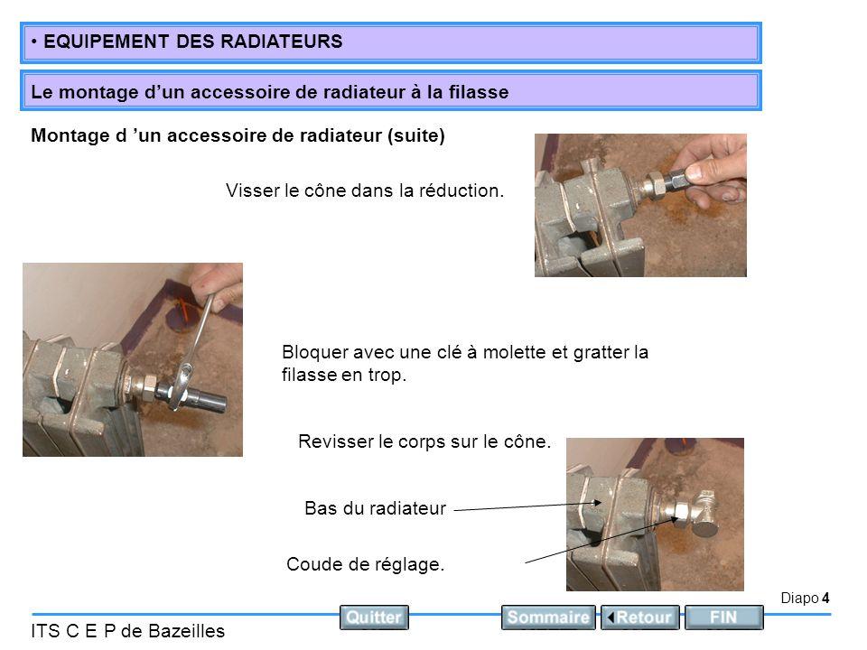 Diapo 4 ITS C E P de Bazeilles • EQUIPEMENT DES RADIATEURS Le montage d'un accessoire de radiateur à la filasse Visser le cône dans la réduction. Bloq