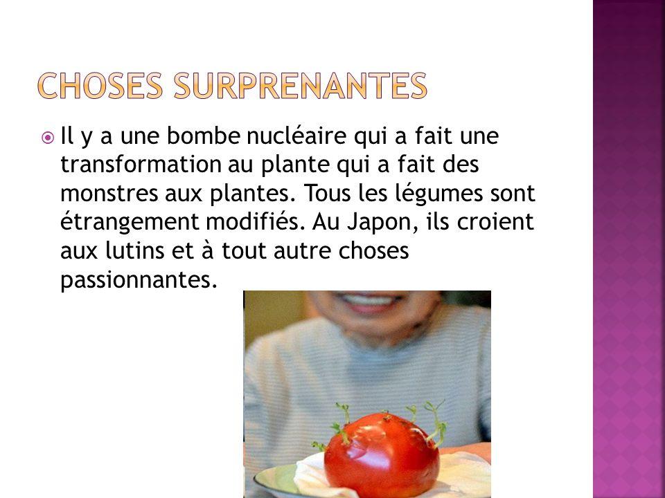  Il y a une bombe nucléaire qui a fait une transformation au plante qui a fait des monstres aux plantes. Tous les légumes sont étrangement modifiés.