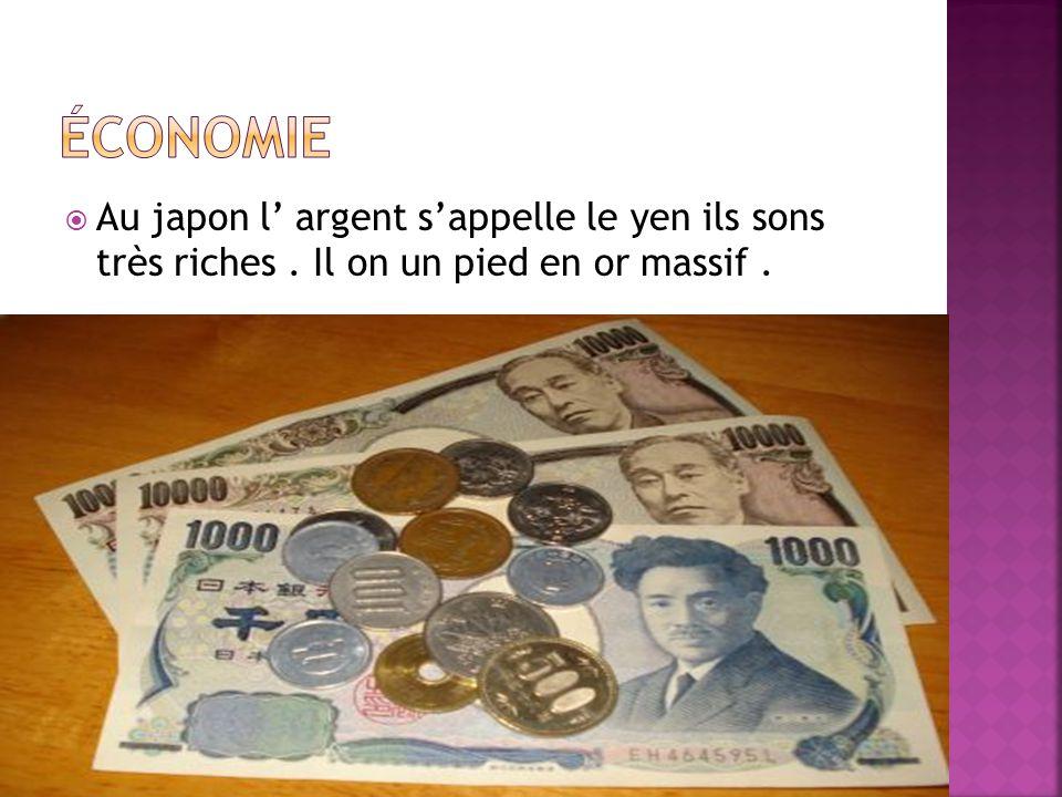  Au japon l' argent s'appelle le yen ils sons très riches. Il on un pied en or massif.