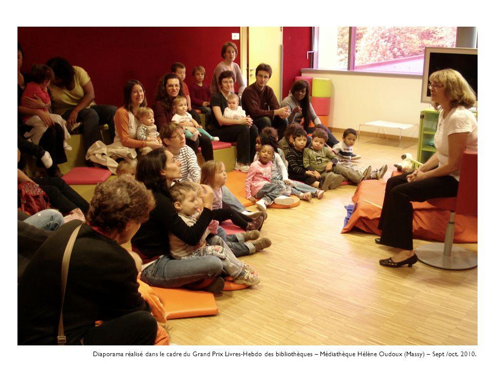 Diaporama réalisé dans le cadre du Grand Prix Livres-Hebdo des bibliothèques – Médiathèque Hélène Oudoux (Massy) – Sept /oct. 2010.
