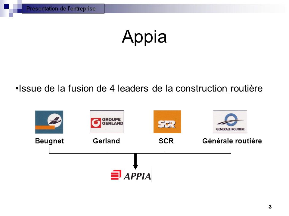3 Appia •Issue de la fusion de 4 leaders de la construction routière Beugnet Gerland SCRGénérale routière