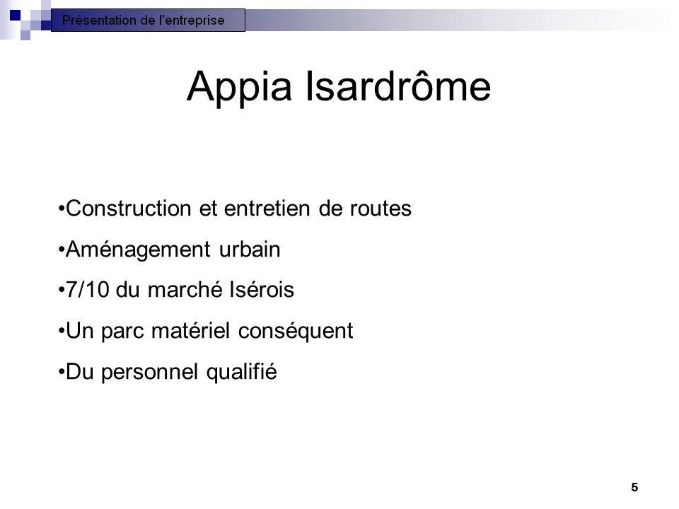 5 Appia Isardrôme •Construction et entretien de routes •Aménagement urbain •7/10 du marché Isérois •Un parc matériel conséquent •Du personnel qualifié