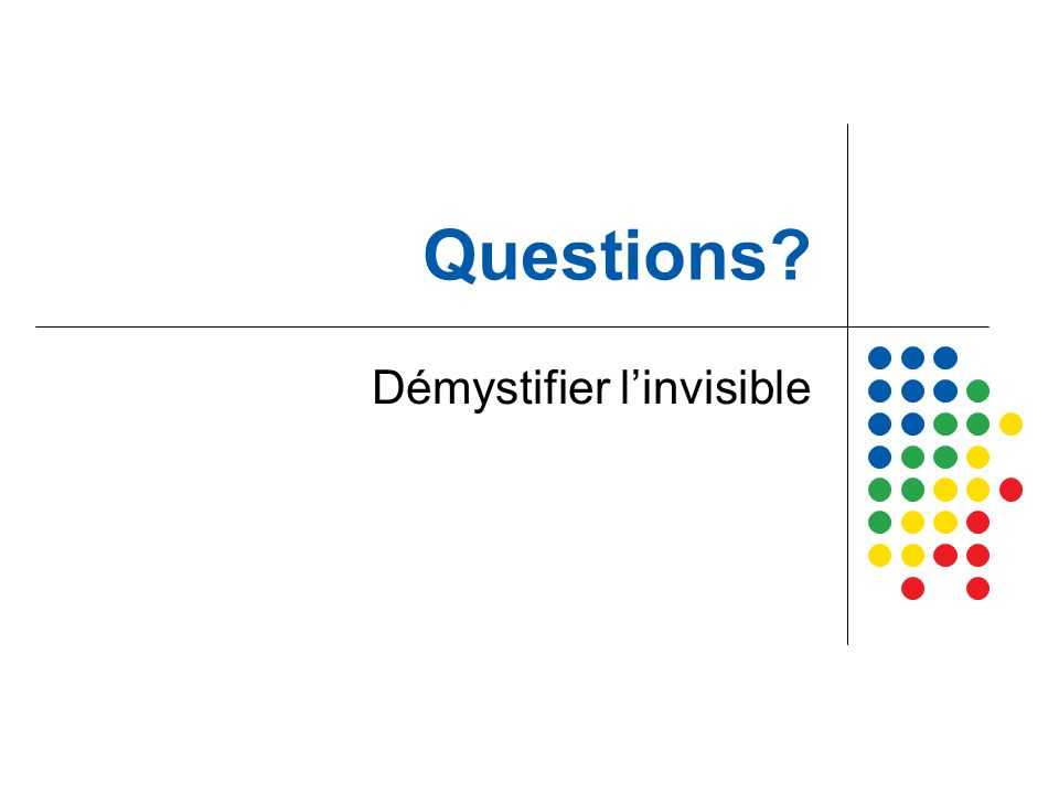 Questions? Démystifier l'invisible