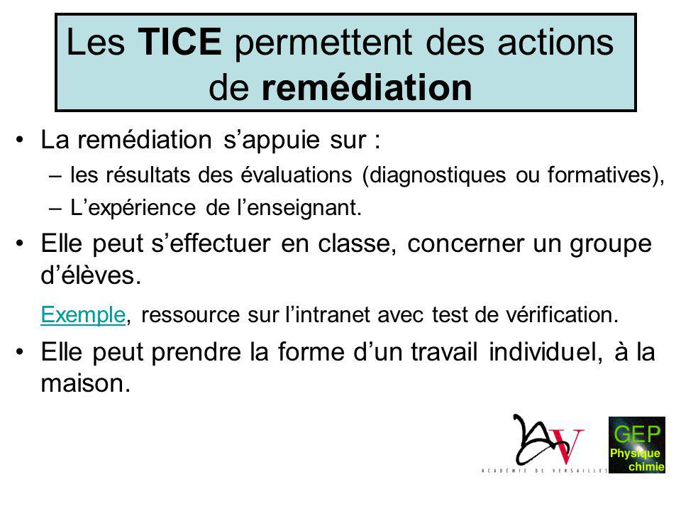 Les TICE permettent des actions de remédiation •La remédiation s'appuie sur : –les résultats des évaluations (diagnostiques ou formatives), –L'expérie