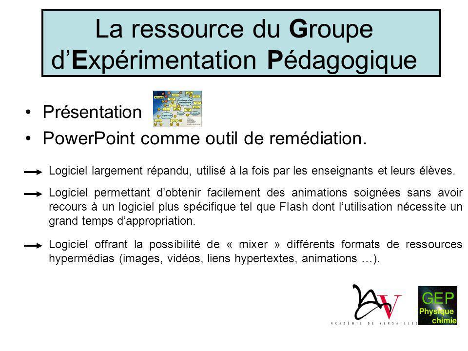 La ressource du Groupe d'Expérimentation Pédagogique •Présentation •PowerPoint comme outil de remédiation. Logiciel largement répandu, utilisé à la fo