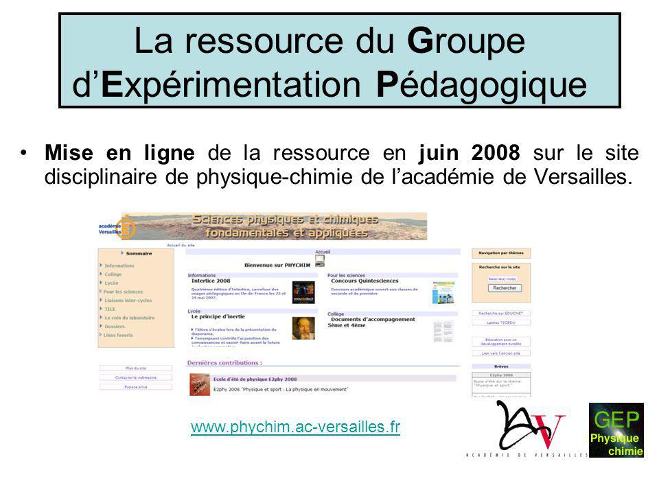La ressource du Groupe d'Expérimentation Pédagogique •Mise en ligne de la ressource en juin 2008 sur le site disciplinaire de physique-chimie de l'aca