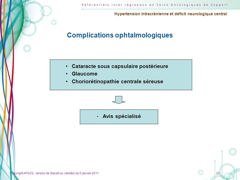 Copyright AFSOS, version de (travail ou validée) du 5 janvier 2011 Hypertension intracrânienne et déficit neurologique central 20 Complications ophtalmologiques •Cataracte sous capsulaire postérieure •Glaucome •Choriorétinopathie centrale séreuse -Avis spécialisé