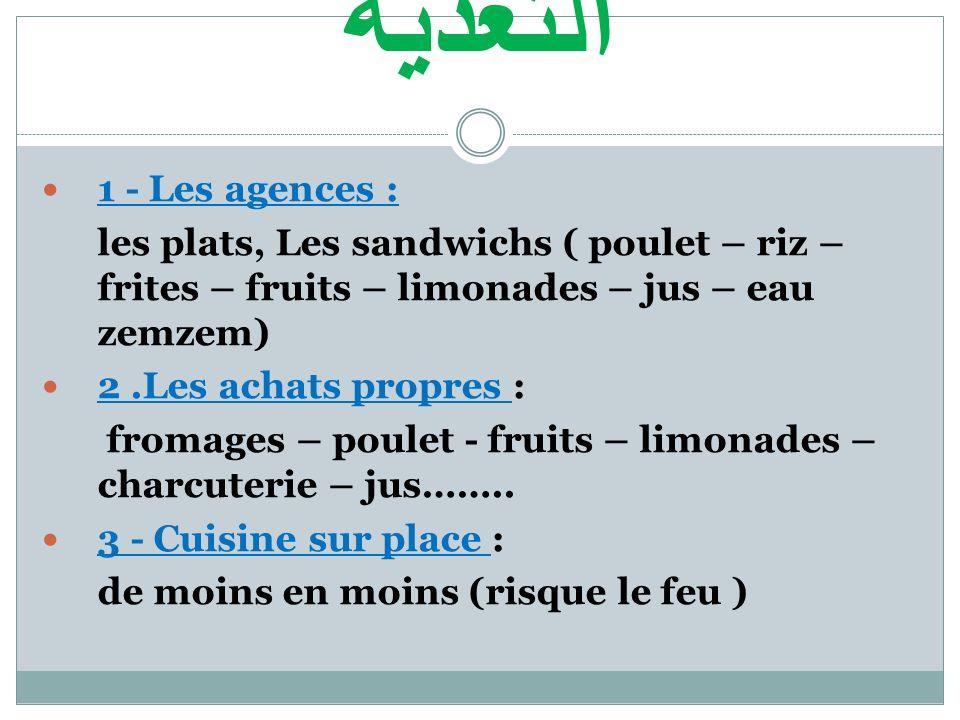 التغدية  1 - Les agences : les plats, Les sandwichs ( poulet – riz – frites – fruits – limonades – jus – eau zemzem)  2.Les achats propres : fromages – poulet - fruits – limonades – charcuterie – jus……..