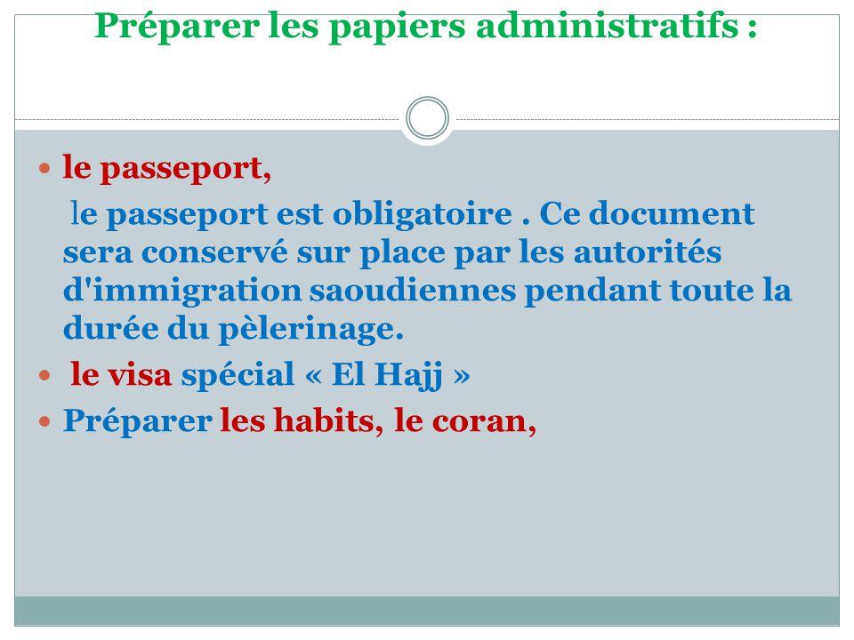 Préparer les papiers administratifs :  le passeport, le passeport est obligatoire. Ce document sera conservé sur place par les autorités d'immigratio
