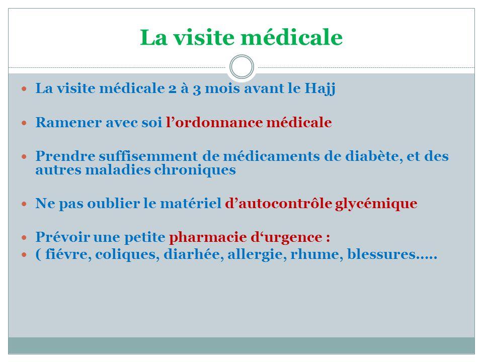 La visite médicale  La visite médicale 2 à 3 mois avant le Hajj  Ramener avec soi l'ordonnance médicale  Prendre suffisemment de médicaments de dia