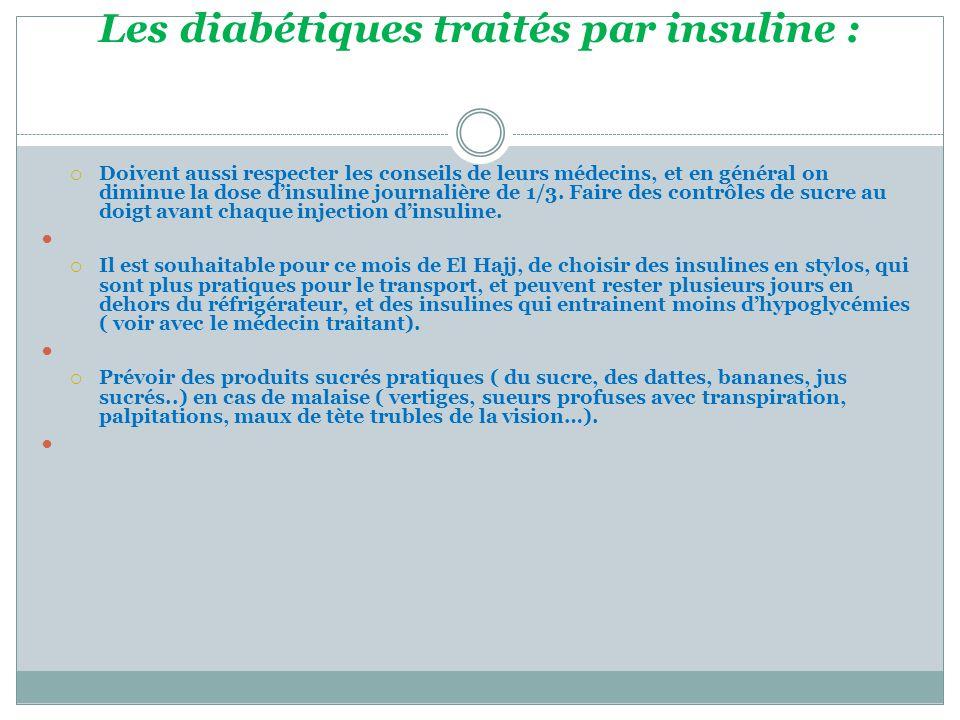 Les diabétiques traités par insuline :  Doivent aussi respecter les conseils de leurs médecins, et en général on diminue la dose d'insuline journalière de 1/3.