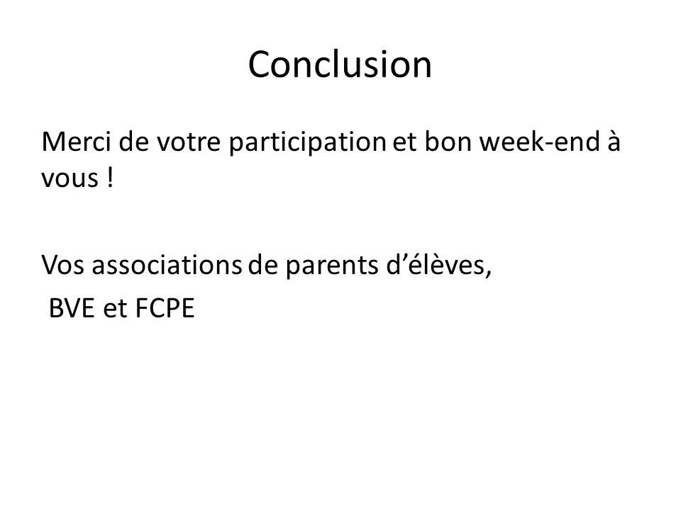 Conclusion Merci de votre participation et bon week-end à vous ! Vos associations de parents d'élèves, BVE et FCPE