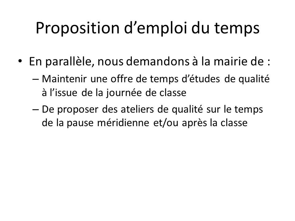 Proposition d'emploi du temps • En parallèle, nous demandons à la mairie de : – Maintenir une offre de temps d'études de qualité à l'issue de la journ
