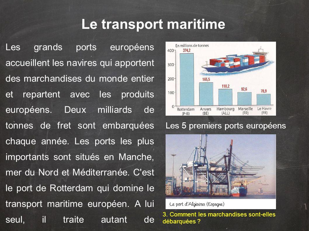 Les grands ports européens accueillent les navires qui apportent des marchandises du monde entier et repartent avec les produits européens. Deux milli
