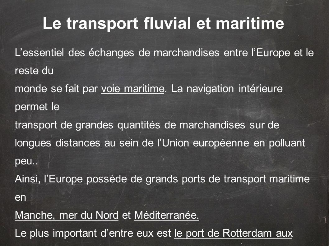 L'essentiel des échanges de marchandises entre l'Europe et le reste du monde se fait par voie maritime. La navigation intérieure permet le transport d