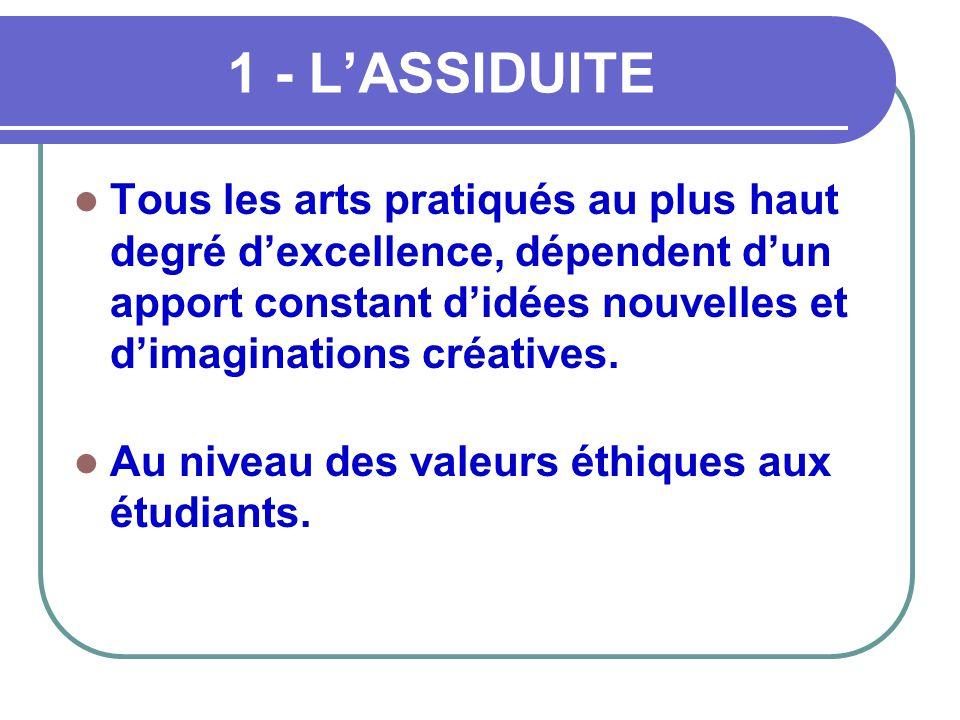 1 - L'ASSIDUITE  Tous les arts pratiqués au plus haut degré d'excellence, dépendent d'un apport constant d'idées nouvelles et d'imaginations créative