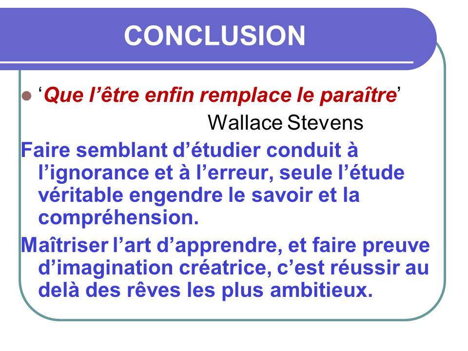 CONCLUSION  'Que l'être enfin remplace le paraître' Wallace Stevens Faire semblant d'étudier conduit à l'ignorance et à l'erreur, seule l'étude vérit