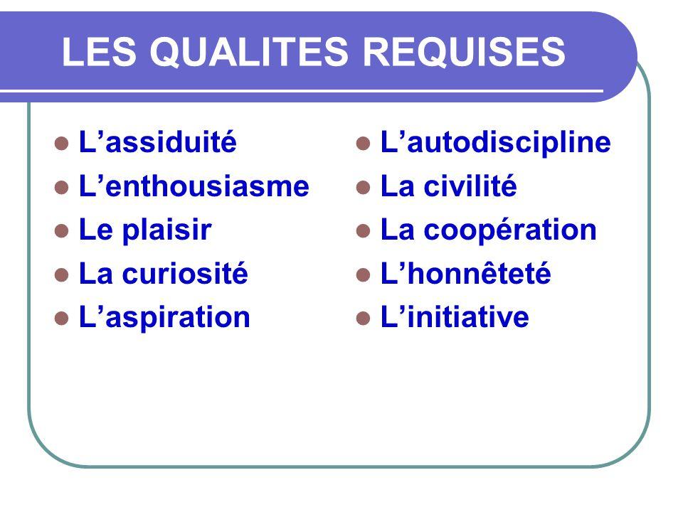 LES QUALITES REQUISES  L'assiduité  L'enthousiasme  Le plaisir  La curiosité  L'aspiration  L'autodiscipline  La civilité  La coopération  L'