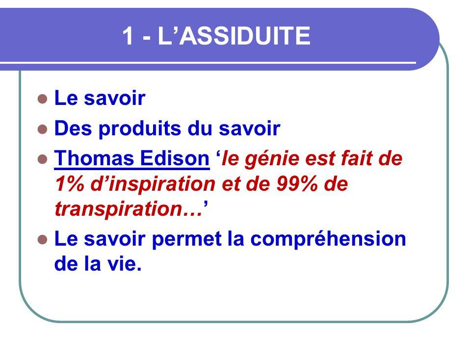1 - L'ASSIDUITE  Le savoir  Des produits du savoir  Thomas Edison 'le génie est fait de 1% d'inspiration et de 99% de transpiration…'  Le savoir p