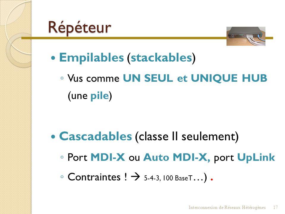 Répéteur : fonctionnalités  Concentrateur - HUB - Répéteur multi-ports  Augmenter la taille du réseau  Raccorder différents tronçons  Conversion d