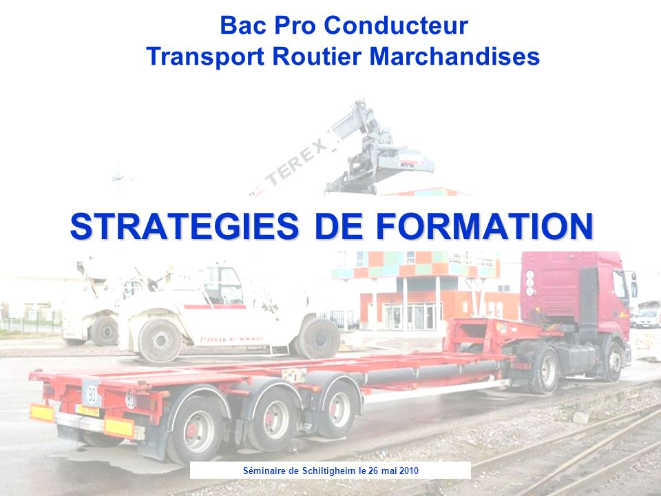 Séminaire de Schiltigheim le 26 mai 2010 Bac Pro Conducteur Transport Routier Marchandises STRATEGIES DE FORMATION