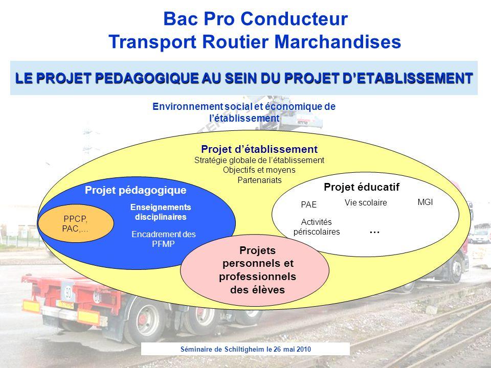 Séminaire de Schiltigheim le 26 mai 2010 Bac Pro Conducteur Transport Routier Marchandises Projet d'établissement Stratégie globale de l'établissement