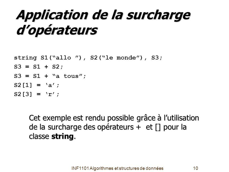 """INF1101 Algorithmes et structures de données10 Application de la surcharge d'opérateurs string S1(""""allo """"), S2(""""le monde""""), S3; S3 = S1 + S2; S3 = S1"""