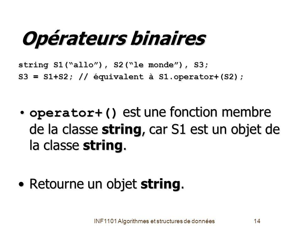 """INF1101 Algorithmes et structures de données14 Opérateurs binaires string S1(""""allo""""), S2(""""le monde""""), S3; S3 = S1+S2; // équivalent à S1.operator+(S2)"""