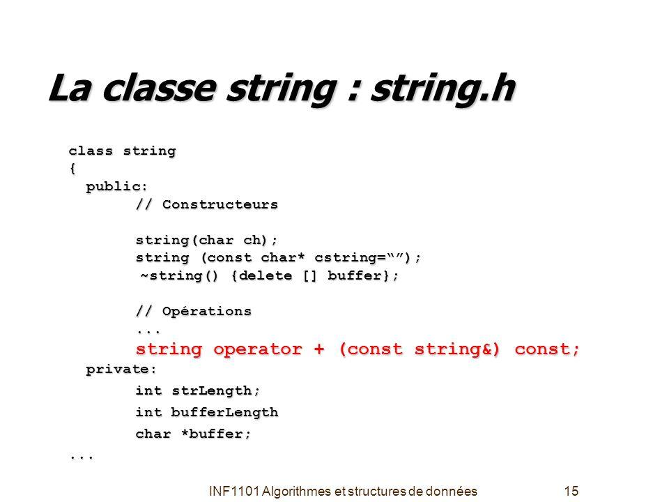 INF1101 Algorithmes et structures de données15 La classe string : string.h class string { public: public: // Constructeurs string(char ch); string (co