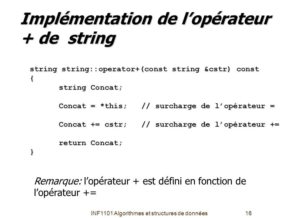 INF1101 Algorithmes et structures de données16 Implémentation de l'opérateur + de string string string::operator+(const string &cstr) const { string C