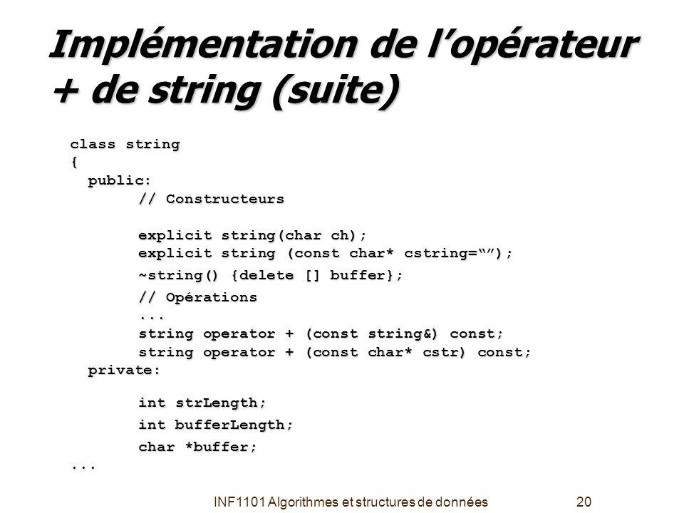 INF1101 Algorithmes et structures de données20 Implémentation de l'opérateur + de string (suite) class string { public: public: // Constructeurs expli
